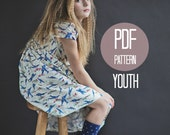 DRESS PATTERN Peter Pan Collar Dress in Girls Youth Sizes 7 and 8 Easy Sewing Pattern