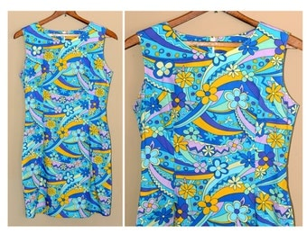 vintage 60's 70's dress, flower power, psychedelic,XS, robins egg blue, mint,pink,purple,orange,floral, cotton, groovy,summer dress, hippie