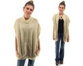 Vintage 70s Mohair Knit Jacket, Boho Bomber Jacket, Slouch, Draped, Oversized, 70s Hippie Knit Jacket, Knit Tunic Δ size: one size