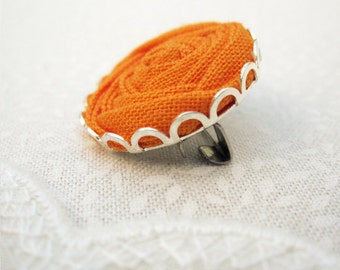 Amber Orange Fabric Rose Brooch - Handmade Textile Flower Jewellery