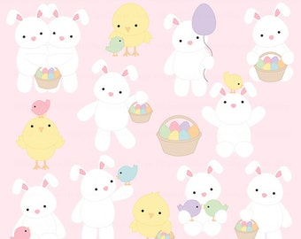 easter clipart clip art bunnies chicks eggs digital - Easter Friends Digital Clip Art
