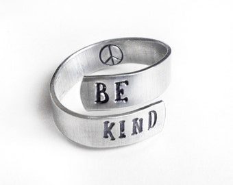 aluminum wrap ring, be kind peace sign, silver adjustabel ring, gift for her, kindness, handmade jewelry