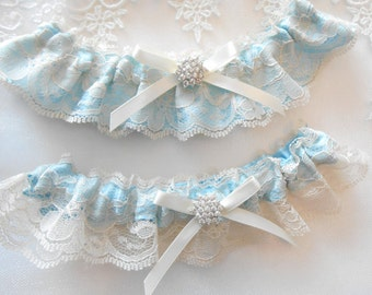 Wedding Garter Set IVORY WHITE Antique Ivory and Black Lace over Satin Choose Pearl and Rhinestone Cluster CUSTOM Color Satin Garter Set