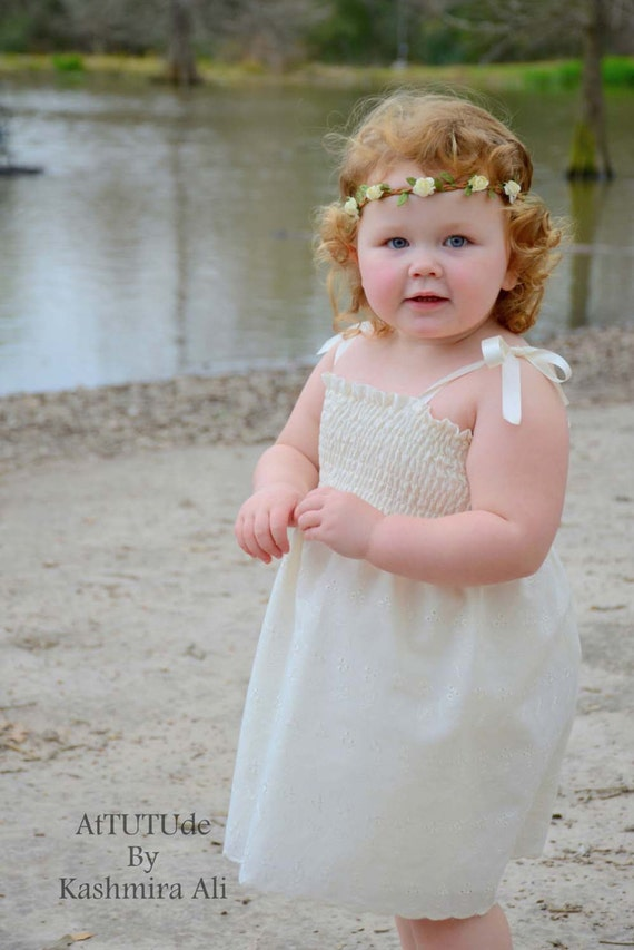 Ivory eyelet flower girl dress beach wedding white dress for Flower girl dress beach wedding
