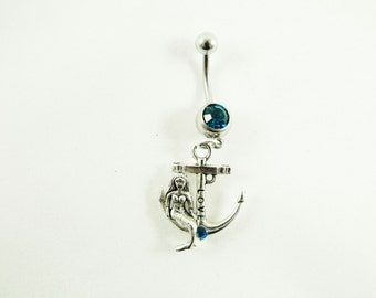 Belly Ring, Nautical Silver Mermaid Sitting On An anchor,  With Blue or Clear Rhinestone Womens Gift  Handmade