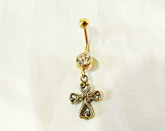 Belly Ring,  Gold Celtic Cross  Womens Gift  Handmade