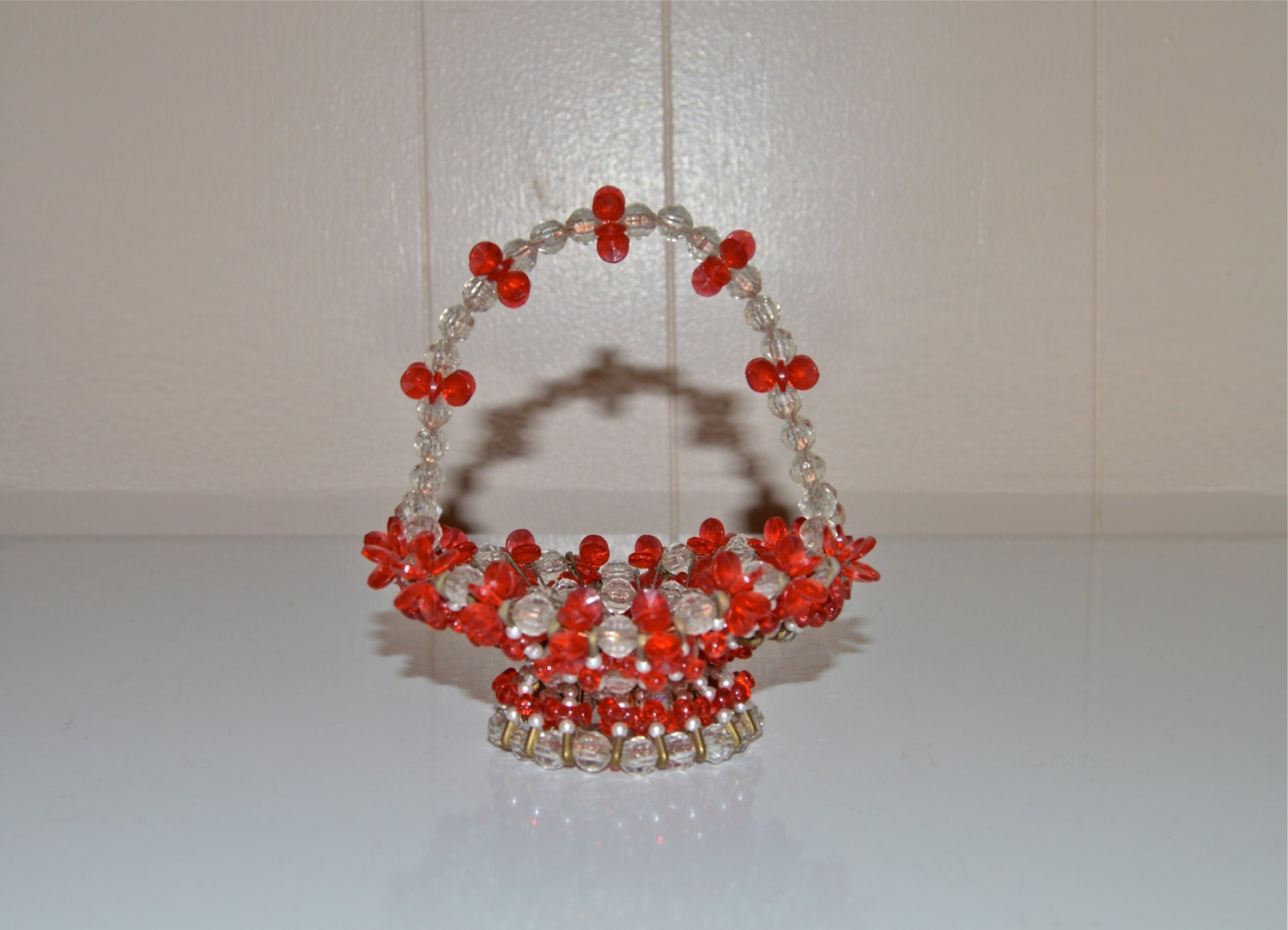 Handmade Beaded Basket : Bead basket safety pin beaded handcrafted by wvpickin