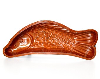 Vintage Redware Fish Form Mold