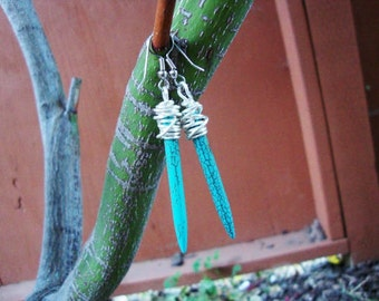 Rustic style wire wrapped turquoise tribal spike earrings with surgical steel ear hooks