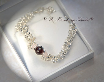 Reiki Jewelry Garnet and Rose Quartz Gemstone Chainmaille Bracelet
