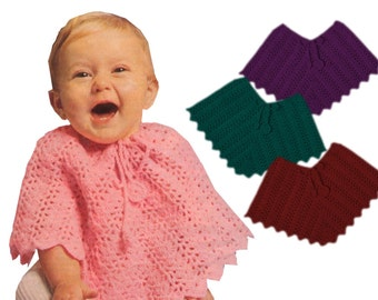 Instant Download KVNC440. Babys Poncho Crochet Pattern, dress up, cover up, poncho coat