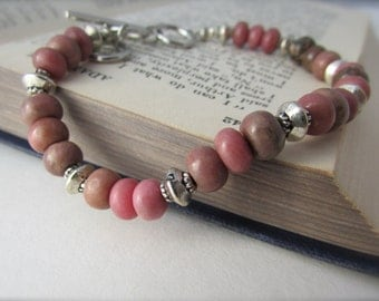 Rhodonite Bracelet, simple, small, pink beaded, rhodonite adjustable bracelet