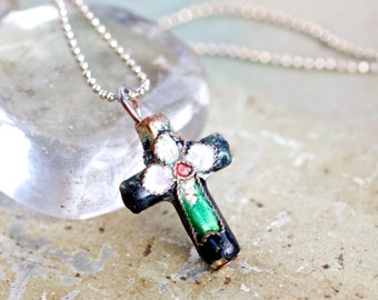Tiny Cloisonne Cross Necklace - Vintage Enamel Cross Pendant on Chain