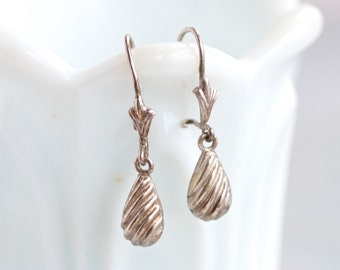 Dark Silver Teardrops - Antique Sterling Silver Dangle Earrings