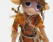 "Ooak Handmade Polymer Clay Woodland Elfin ""Pip"" Fantasy Art Doll"