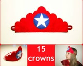 15 felt crowns set - red blue white - miss America Superhero patriotic for girls adults birthday July 4 party - soft dress up play accessory