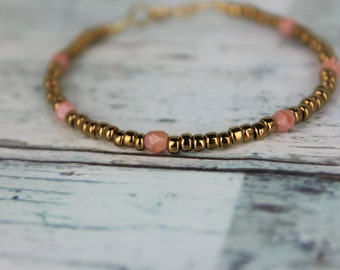 Bronze/Peach Beaded Bracelet