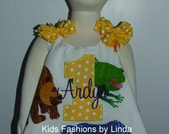 Personalized Brown Bear Brown Bear Pinafore and Ruffled Diaper Cover