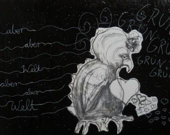 Illustration ,drawing,figure,white,black, bird