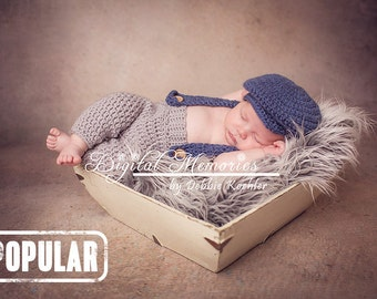Newborn Suspenders and Driver's Cap, Newborn Photography Props, Baby Boy Hats and Infant Outfits