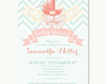 Royal Baby Shower Invitations (Mint and Peach) – Printable