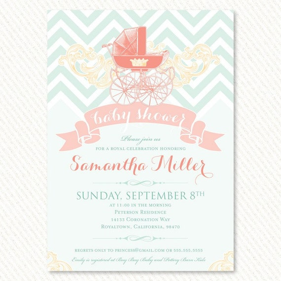 royal baby shower invitations mint and peach printable