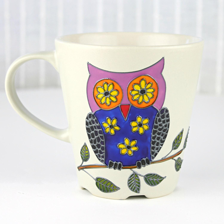Owl mug hand painted cup beige stoneware mug coffee mug for How to paint a mug