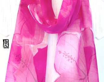 Silk Scarf Hand Painted, Pink Scarf, Pink and White Scarf, Silk Chiffon Scarf, Silk Scarves Takuyo, Pink Crush Hibiscus Flowers, 10x60 in