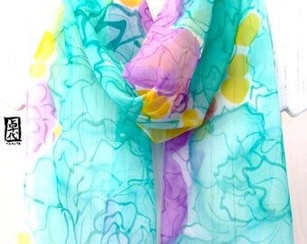 Silk Scarf Hand painted, Green, Purple Silk Scarf, Spring Scarf, Hundred Petals of Mint Green Roses, Silk Chiffon Scarf. 11x60 inches.