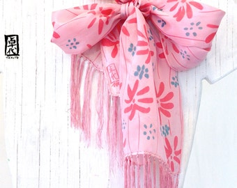 Hand Painted Silk Scarf with fringes, Pink Floral Scarf, Spring Scarf, Pink Wildflowers Scarf, 8x54 inches.