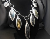 Flashy Marquise Shaped Labradorite Stone Necklace with Sterling and Fine Silver Metalwork