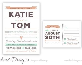 Retro Wedding Invitation Suite. Digital File. Printable File. Invitation, RSVP Card. Hipster Wedding. Vintage Modern Design.