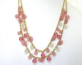 TRIFARI Long Double Chain Necklace, Pink Floral Glass Beads, Excellent