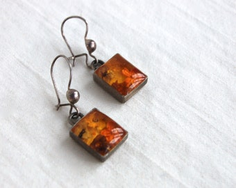 Resin Flower Dangle Earrings Vintage Mexican Sterling Silver Square Amber Colored Dangles