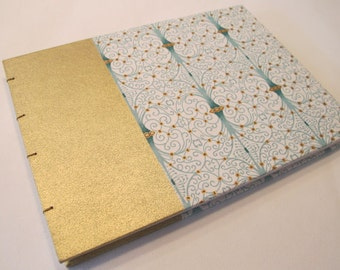 Large Metallic Gold and Mint Green Art Deco Romantic Wedding Guest Book Instax Polaroid Photo Album