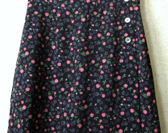 Skort Culottes mini wrap skirt vintage 90s long shorts indie grunge floral flower print pink black NWT NOS new with tags B Moss women small