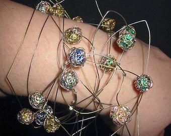 Modern bracelet Abstract art jewelry Contemporary jewelry Versatile jewelry Art bracelet Wire art sculpture Art to wear geometric jewelry