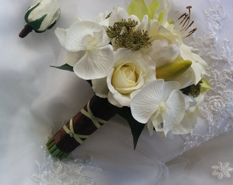 Wedding Silk Ivory Roses, Tulips, Orchids and Green Cymbidium Orchid Rustic Wedding Bouquet & Matching Boutonniere