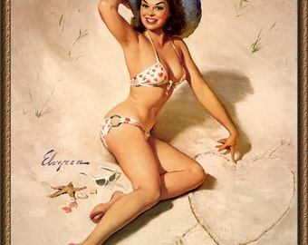 Vintage Pin-Up Girl by Gil Elvgren ~ Love at the Beach ~ NEW 8x10 Art Print Reproduction