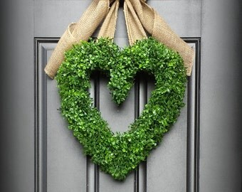 Valentine Wreath. Faux Boxwood Heart Wreath.  Faux Boxwood Wreath. Heart Wreath.  LOVE your Door.