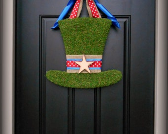 Summer Wreath. Patriotic Wreath.  Fourth of July Wreath.  Moss Uncle Same Hat with Woodfired Star or  Monogram Letter.