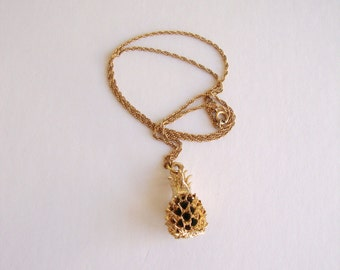 Pineapple Necklace: Golden Fruit vintage gold tone pineapple pendant on a gold tone chain