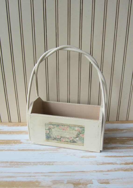 How To Weave A Basket Out Of Twigs : Wooden basket with woven twig handle painted vintage versatile