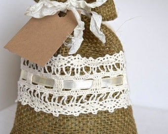 SALE - Rustic Dark Burlap Gift Bag With Lace Trim And Ribbon - Wedding Favor Gift - Any Occasion - 1 Bag (GB02)