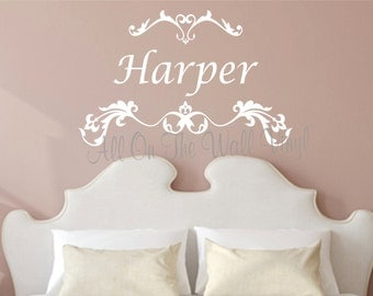 Wall Decals Nursery Baby Girl Name Wall Decal Custom Vinyl Lettering Personalized Wall Art Scroll Decal Name Decals Girl Bedroom Decor