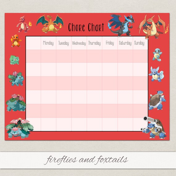 Blank Eevee Pokemon Behavior or Chore Chart * Visual Schedule ...