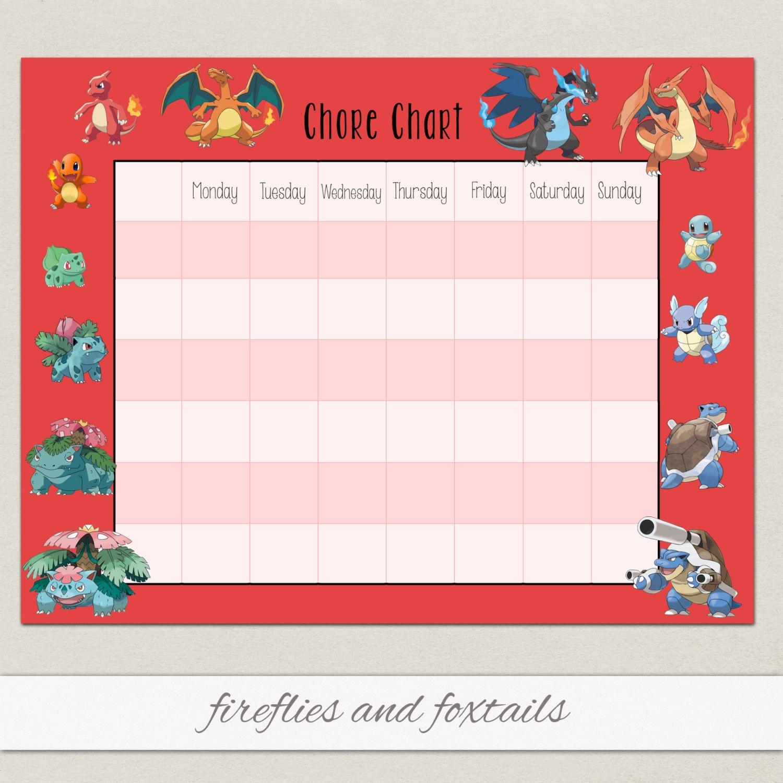 Blank Eevee Pokemon Behavior Or Chore on Free Printable Rewards Charts