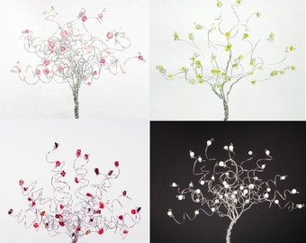 Four Seasons Set of Four Wire Tree Sculptures Spring Summer Fall and Winter