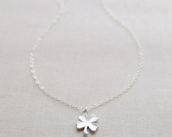 Silver Clover Necklace, Small Shamrock Necklace, Silver 4 Leaf Clover Charm, Four Leaf Clover, Lucky Silver Necklace, Olive Yew - 1127