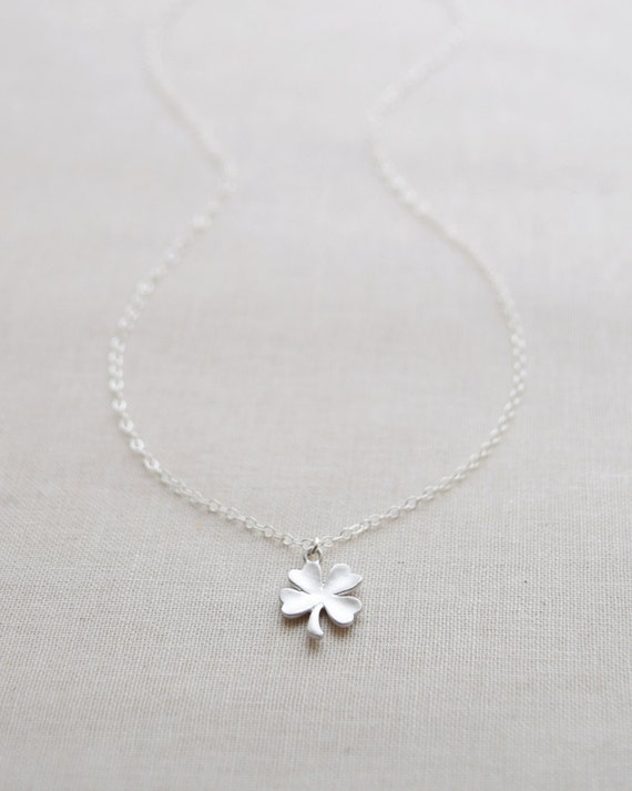 Silver Clover Necklace - silver shamrock necklace - lucky silver jewelry - 1127